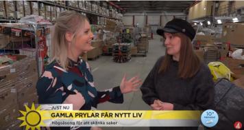 Tv4 Nyhetsmorgon besökte Myrornas sortering i Sätra